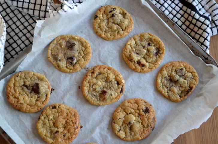 Dark chocolate, cherry & ginger cookies