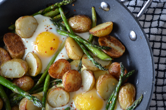 Baked Eggs with Roast new potatoes and asparagus