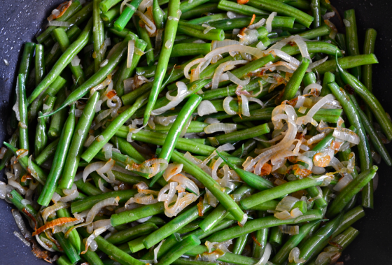 Green Bean and caramelised shallot Tortilla