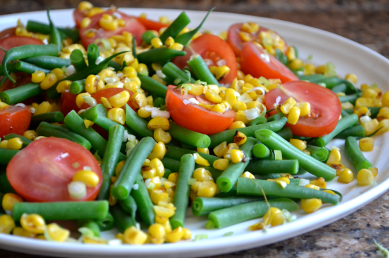 Green Bean, Corn & Tomato Salad with Green Tahini Dressing