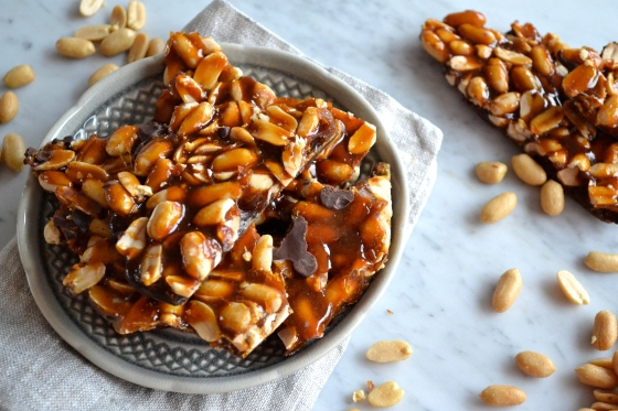 Salted Peanut Brittle with Dark Chocolate