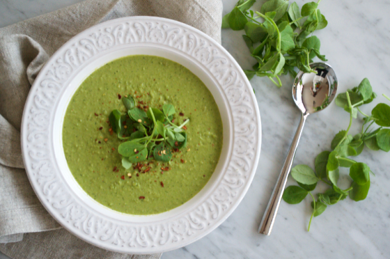 Pea soup with lemongrass, ginger, chilli & coconut milk
